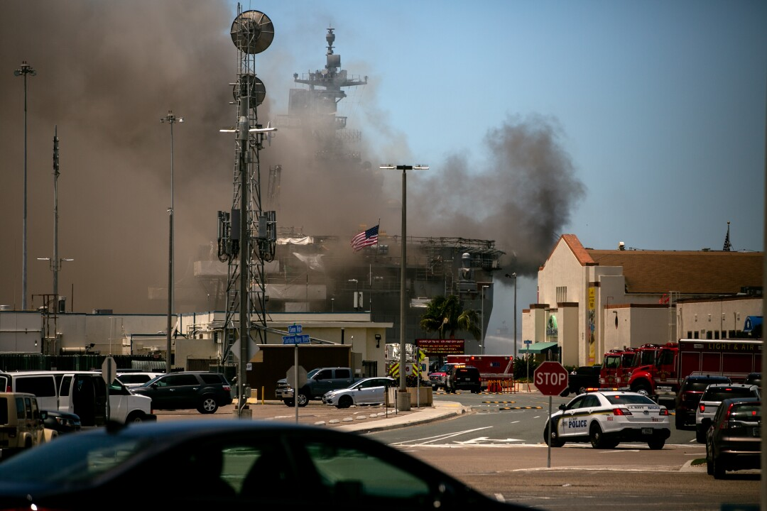 Emergency crews responded to the scene of a fire aboard the USS Bonhomme Richard on Sunday, July 12.