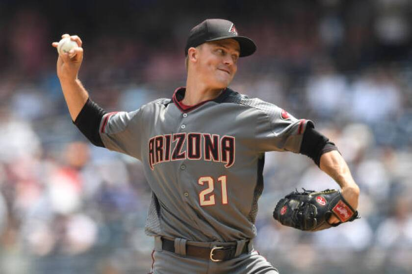 Zack Greinke pitches during the first inning of the game between the Arizona Diamondbacks and New York Yankees on Wednesday in the Bronx borough of New York City.