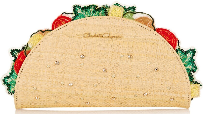 The Charlotte Olympia taco clutch bag is on sale for 50% off its original price of $1,300 on www.net-a-porter.com.