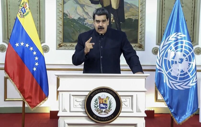 El presidente venezolano Nicolás Maduro durante el discurso grabado que difundió la Asamblea General de las Naciones Unidas el 23 de septiembre del 2020. (UNTV vía AP)