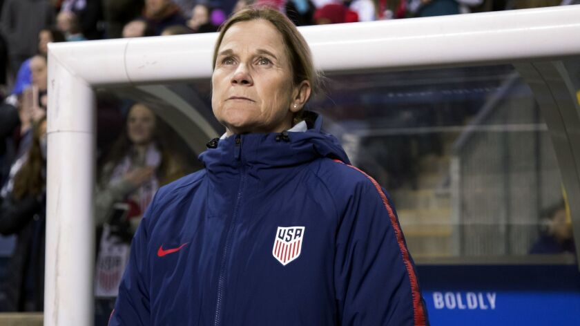 FILE - In this Feb. 27, 2019, file photo, USA head coach Jill Ellis looks on before the first half o