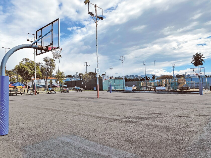 As the La Jolla Recreation Center has two basketball courts only, as seen in March 2020, one will feature pickleball lines, leaving the other court dedicated to basketball.