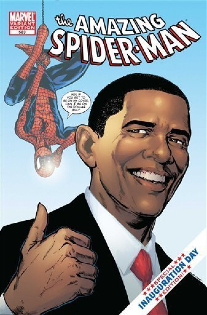 This undated handout image provided Marvel Comics shows the cover of The Amazing Spider-Man featuring President-elect Barack Obama. (AP Photo/Marvel Comics)