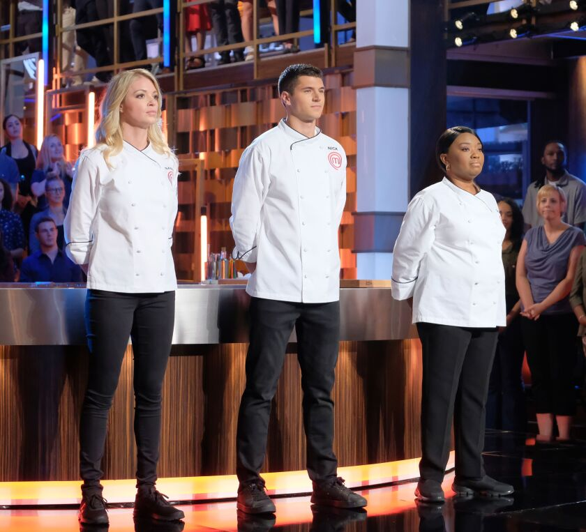 Home chef Sarah Faherty, left, who sells real estate in San Diego, is one of three finalists competing for the Season 10 'MasterChef' title and top prize in the cooking show's Sept. 18 finale.