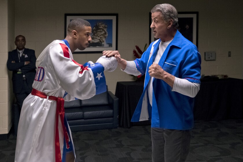 "Michael B. Jordan (left) stars as Adonis Creed and Sylvester Stallone as Rocky Balboa in ""Creed II,"" a Metro Goldwyn Mayer Pictures and Warner Bros. Pictures film."