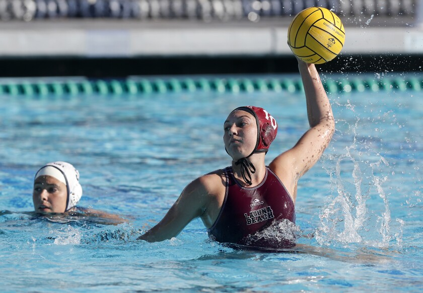 Laguna Beach attacker Emma Lineback scores on a penalty shot against Newport Harbor on Dec. 28, 2019.