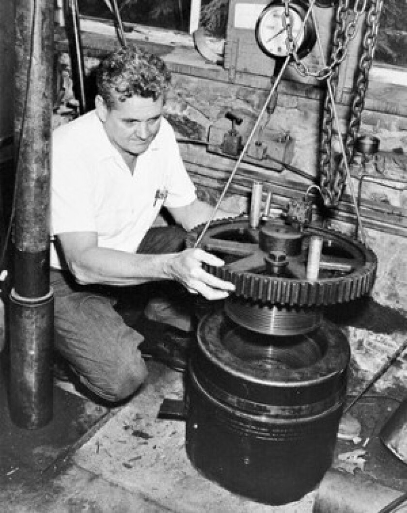 J. Lamar Worzel works on a deep-sea pressure vessel in 1955. Worzel used objects from home and the laboratory to create things that did not yet exist, demonstrating their value and paving the way for the development of far more sophisticated tools.