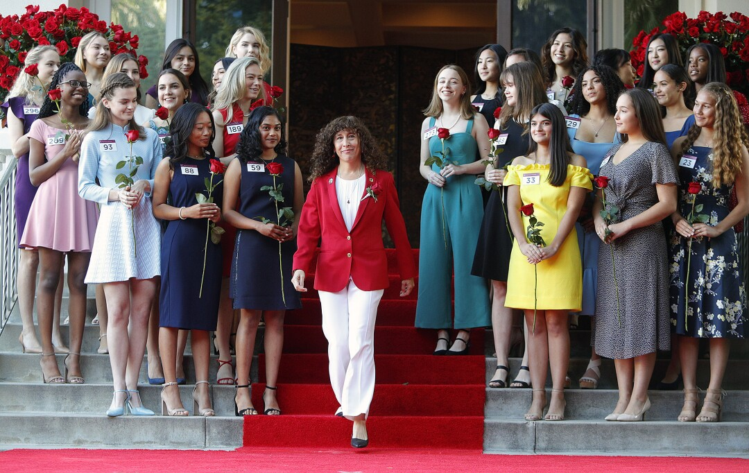 Laura Farber, president of the 2020 Tournament of Roses, steps to the stage to announce the 2020 Royal Court.