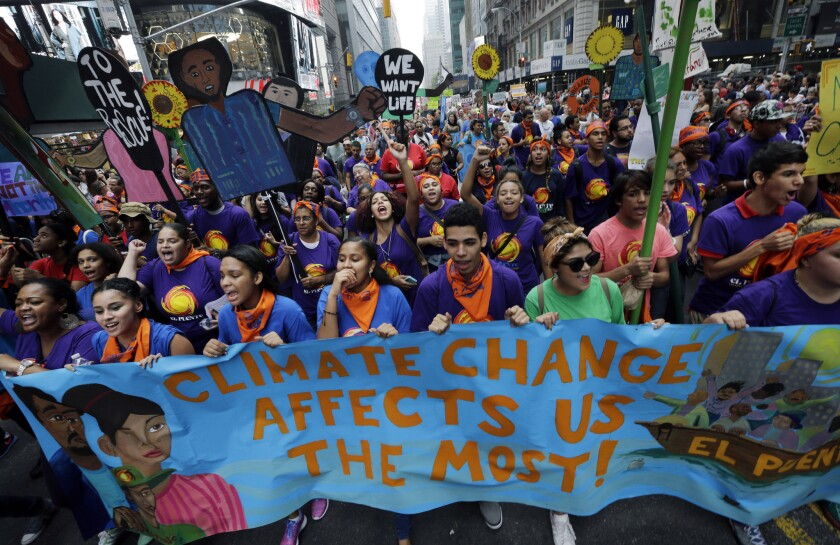 Thousands rally in New York in September for greater action on climate change.