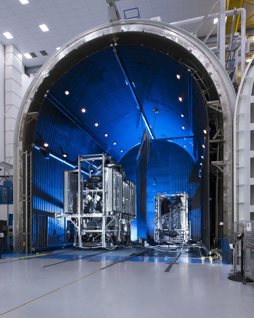 The thermal vacuum chamber at Boeing Satellite Systems factory in El Segundo.