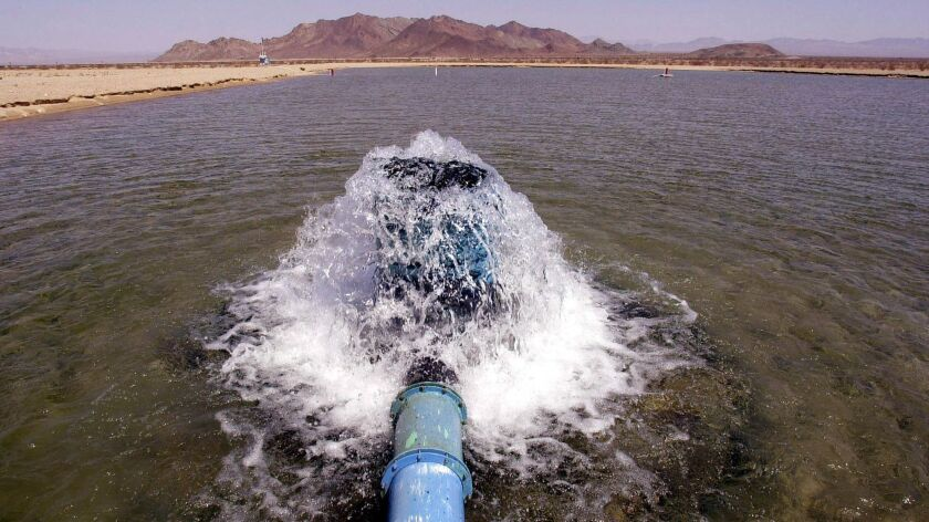 Well water bubbles into a pilot spreading basin pools for agricultural company Cadiz Inc. on Aug. 13, 2002.