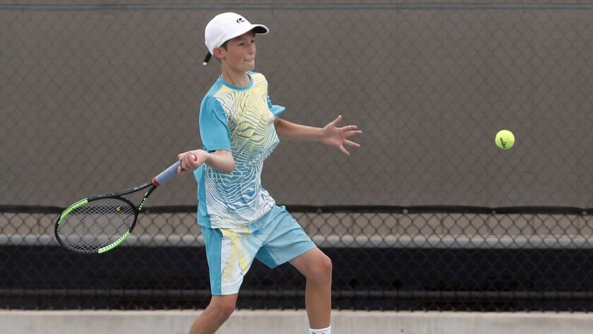 Niels Hoffmann of Newport Beach competes against Drew Abramowitz of Santa Clarita in a Junior Sectionals match Thursday at Marina High.