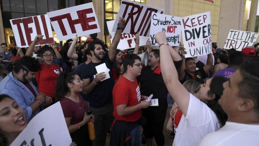 NORTHRIDGE, CA -- SEPTEMBER 13, 2018: Cal State Northridge students and faculty members protested to