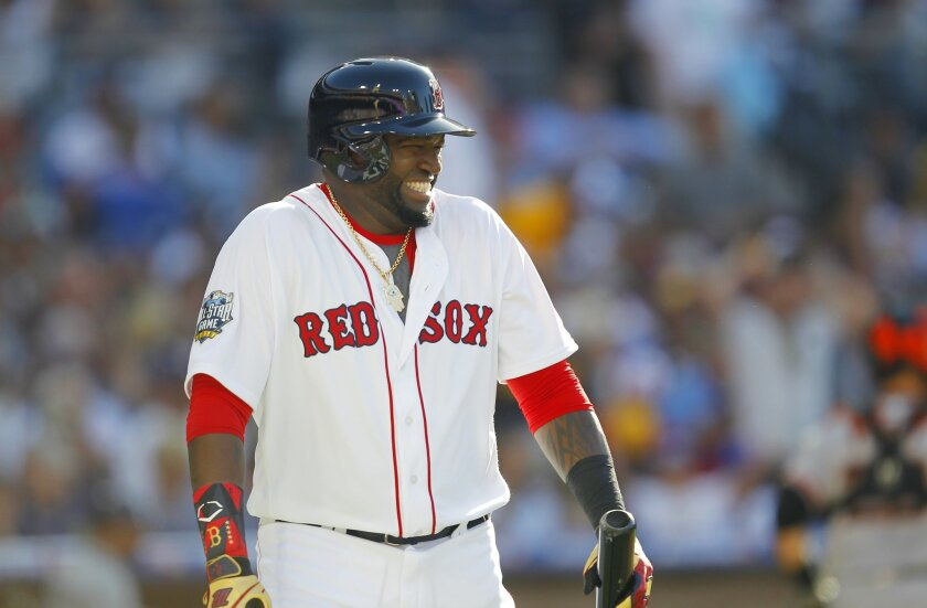 Boston's David Ortiz laughs after lining out in the 1st inning at  the All-Star Game at Petco Park.