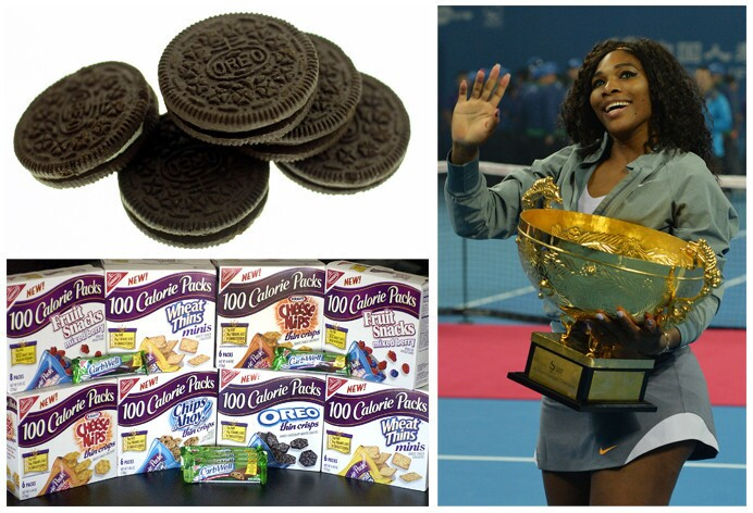 """Serena Williams' endorsement deals had the worst scores, as measured by their Nutrient Profile Index. Her food and beverage endorsements include Oreos, Nabisco's 100 Calorie Pack Snacks, """"Got Milk?"""" and Gatorade."""