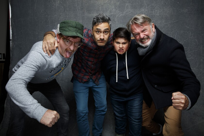"Rhys Darby, left, Taika Waititi, Julian Dennison, Sam Neill from ""Hunt for the Wilderpeople."""