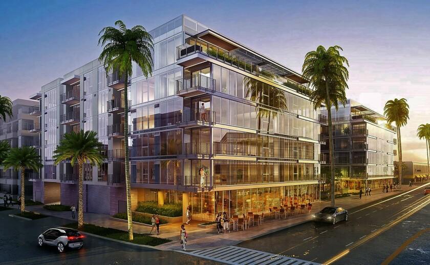 Rendering of a planned luxury condominium development at 9200 Wilshire Blvd