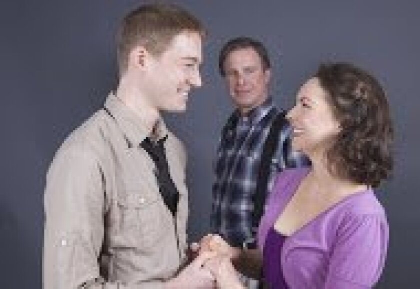 Ben Cole, James Leaming and Cristina Flynn rehearse in North Coast Repertory's 'Who Am I This Time?' Photo/Aaron Rumley