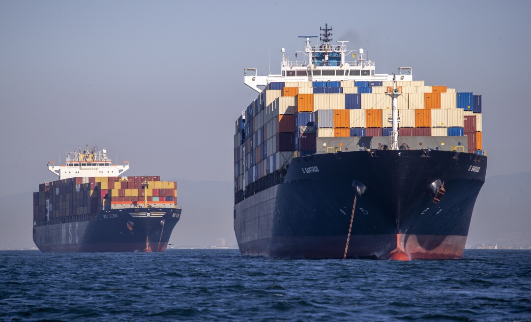 Dozens of container ships sit off the coast of the Ports of Los Angeles and Long Beach.