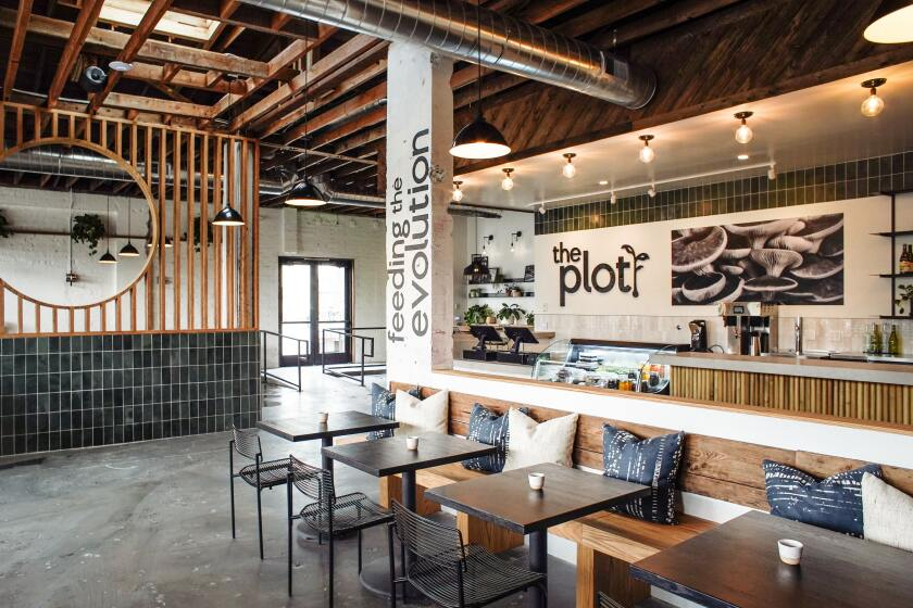 The interior of The Plot, a plant-based and zero waste-ethos restaurant in Oceanside.