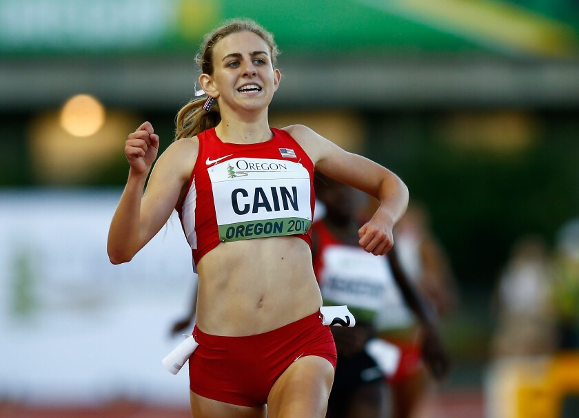 Mary Cain runs during the IAAF World Junior Championships on July 24, 2014, in Eugene, Ore.