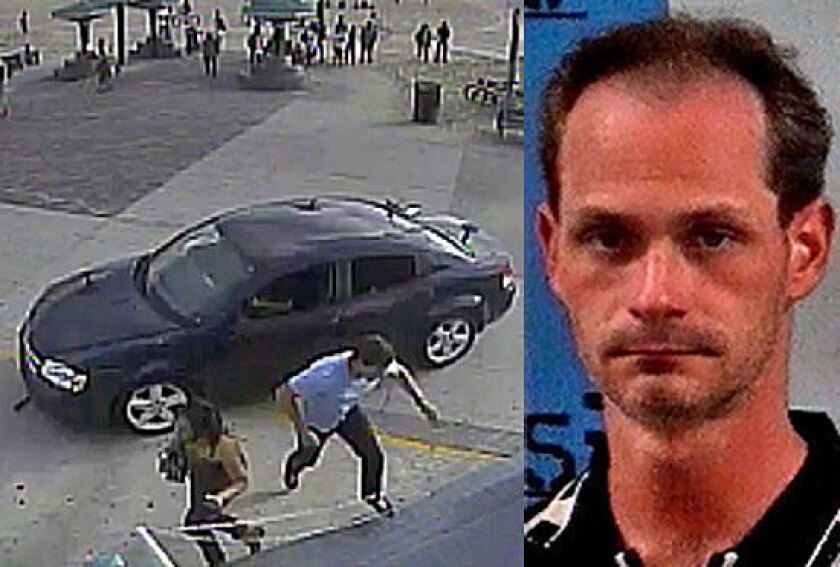 Nathan Louis Campbell and a scene from a video showing pedestrians avoiding a Dodge Avenger on the Venice boardwalk.