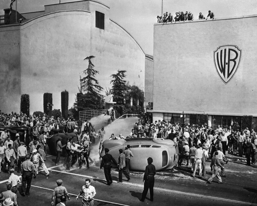 Oct. 5, 1945: Strikers and non-strikers clash outside of employee entrance to Warner Bros.  Studios in Burbank.
