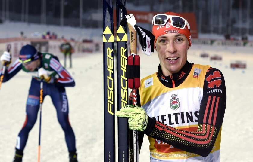 Winner Eric Frenzel of Germany at the finish of the Cross-Country Individual Gundersen (10 km) of the Nordic Combined FIS World Cup competition at the Lahti Ski Games, the Pre-World Championships, in Lahti, Finland, on Friday Feb. 19, 2016.  (Jussi Nukari/Lehtikuva via AP) FINLAND OUT