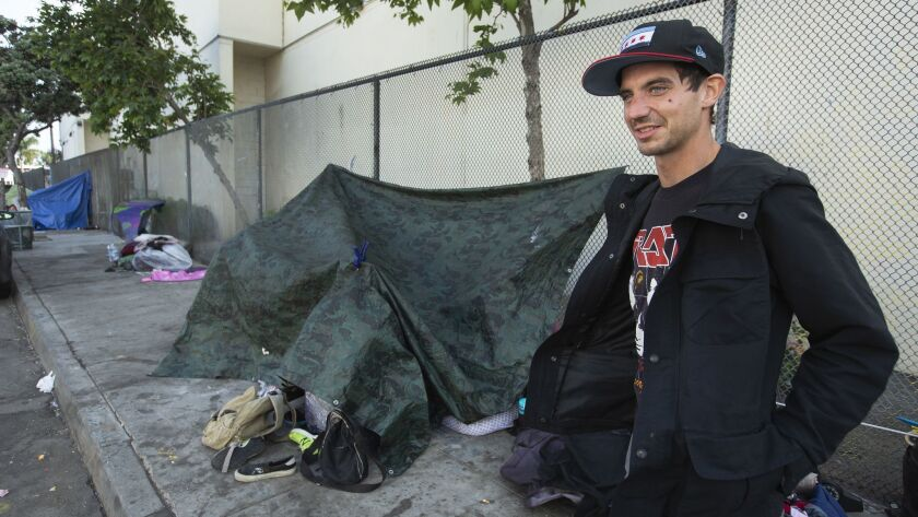 VENICE, CA-APRIL 25, 2019: Andy Grabarkiewicz, 28, who is homeless, is photographed outside a homel