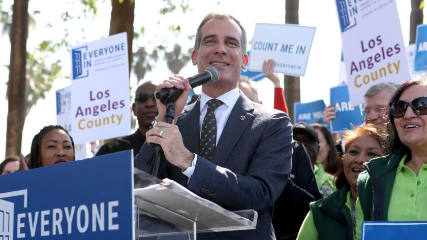 """LOS ANGELES, CA-March 9, 2018: Mayor Eric Garcetti speaks during the launch of """"Everyone In"""" - a c"""