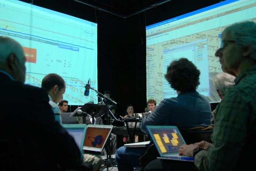 As guests watch the performance in 2008, they use their laptops to participate. Photos courtesy CALIT2 UCSD