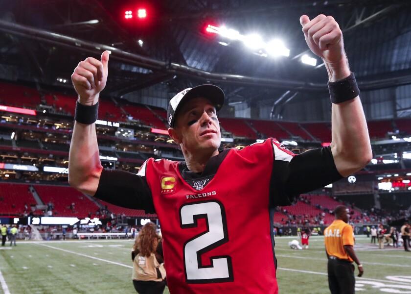 Atlanta Falcons quarterback Matt Ryan celebrates Sunday's win over the Carolina Panthers.