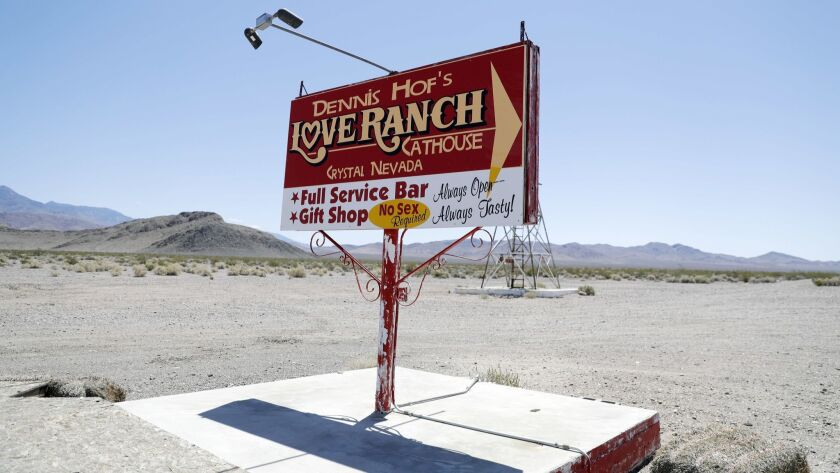LAS VEGAS, NV - MAY 4, 2018: A sign for the Love Ranch brothel is pictured Friday, May 4, 2018, in