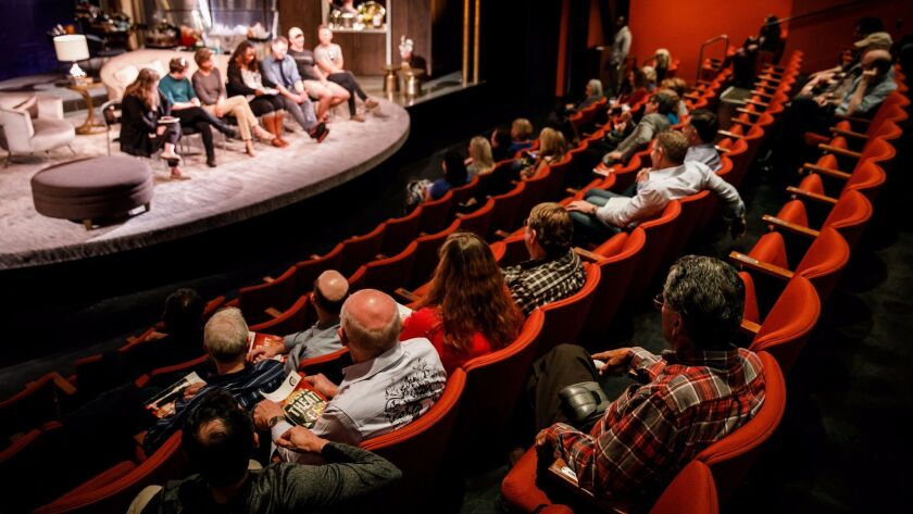 """Audience members stay to discuss Paul Rudnick's """"Big Night"""" with the cast after a performance at the Kirk Douglas Theatre in Culver City."""