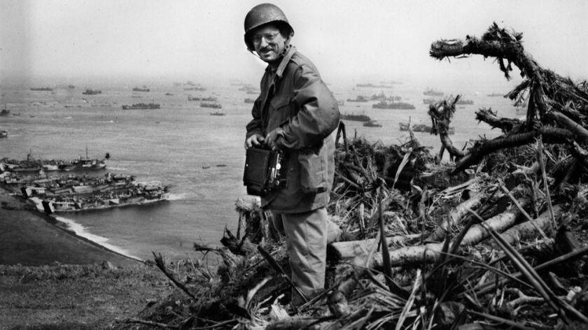 Associated Press photographer Joe Rosenthal on Mount Suribachi on the island of Iwo Jima.