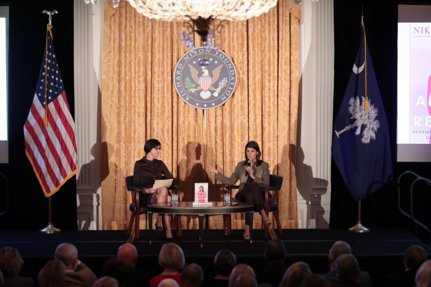 Nikki Haley addresses Confederate flag comments, time at the U.N. under Trump during speech at Nixon Library