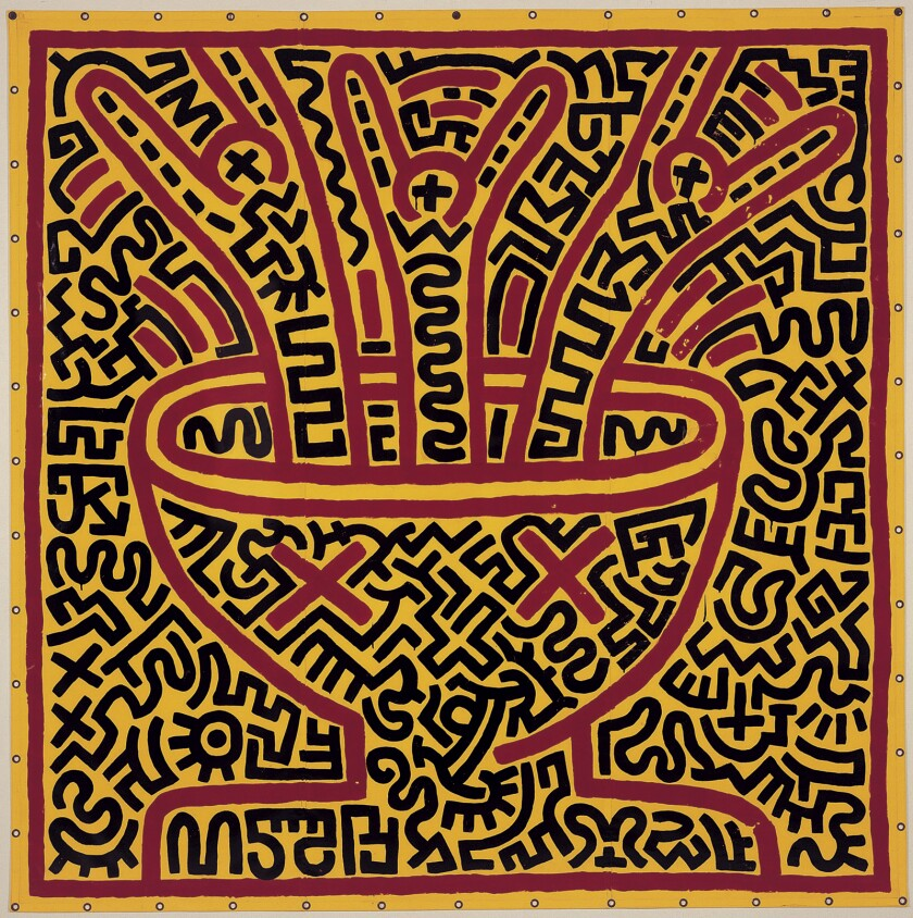 """An untitled 1983 painting by the late Keith Haring is among the works on display in """"Pop! 50 Years of Art & Popular Culture"""" at Pepperdine University's Weisman Museum."""