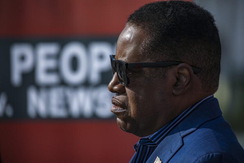 Gubernatorial candidate Larry Elder at a press conference.