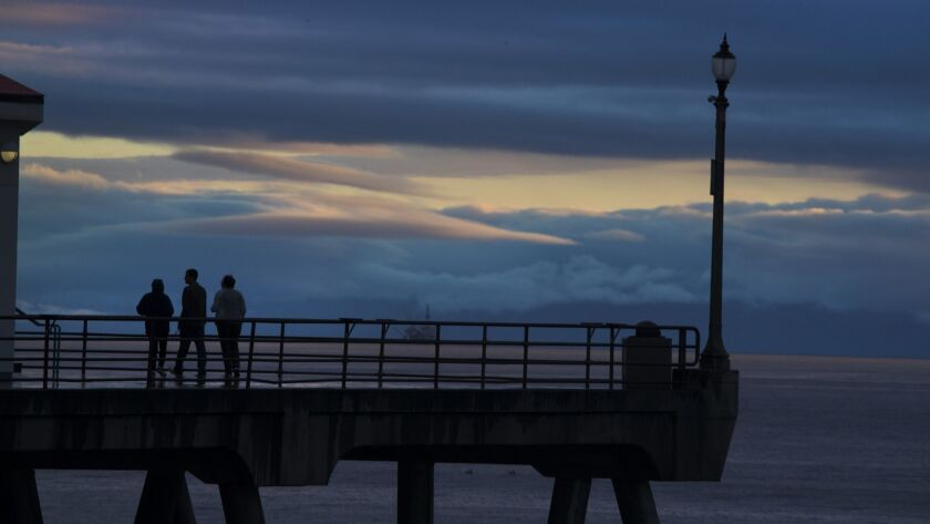 A view of the end pier in Huntington Beach, Calif., on March 22