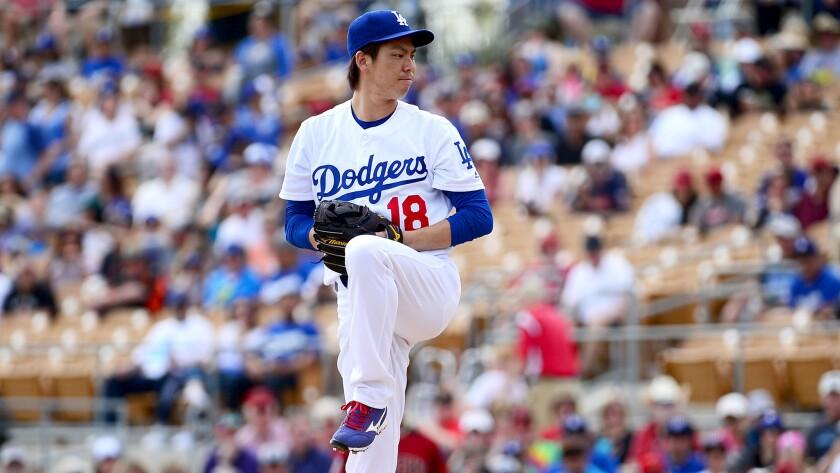 Dodgers stearter Kenta Maeda makes his spring debut on Saturday against the Diamondbacks.