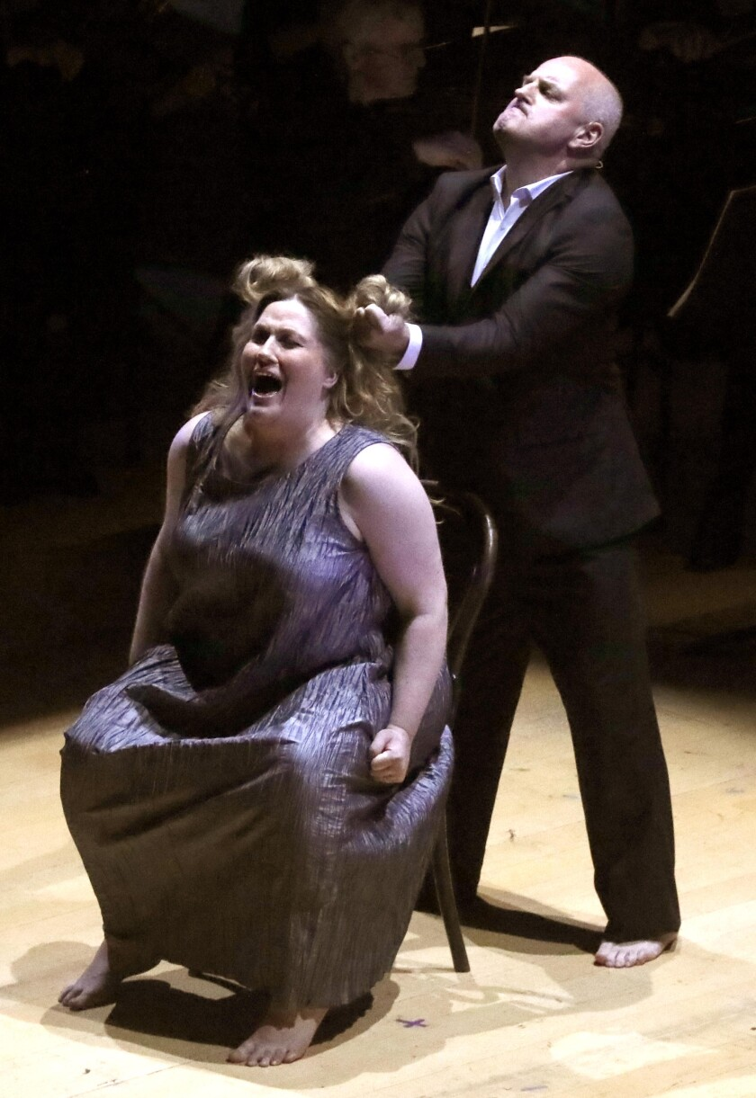 "Soprano Madeleine Bradbury and baritone Christopher Purves perform in Hindemith's ""Murderer, the Hope of Women."""