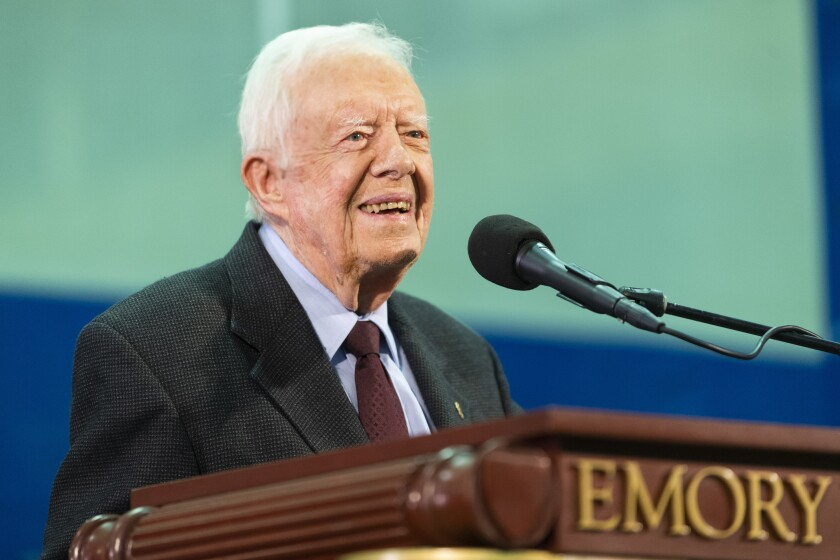 """FILE - In this Sept. 18, 2019, file photo, Former President Jimmy Carter answers questions submitted by students during an annual Carter Town Hall held at Emory University in Atlanta. A spokeswoman for Carter said the former president fell at his home but """"feels fine."""" Deanna Congileo said in an email that Carter fell Sunday, Oct. 6, 2019, at his home in Plains, Ga., and needed stitches above his brow. Carter turned 95 on Tuesday, becoming the first U.S. president to reach that milestone. (AP Photo/John Amis, File)"""