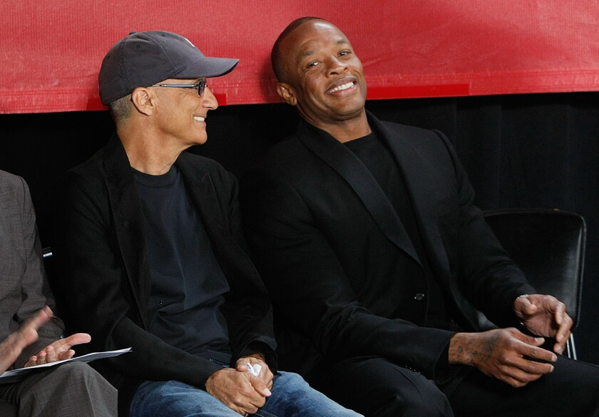 Music mogul Jimmy Iovine, left, and rapper Dr. Dre seen at Santa Monica's Interscope Studios in May 2013.