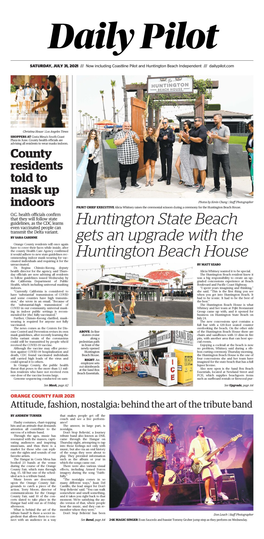 Front page of Daily Pilot e-newspaper for Saturday, July 31, 2021.