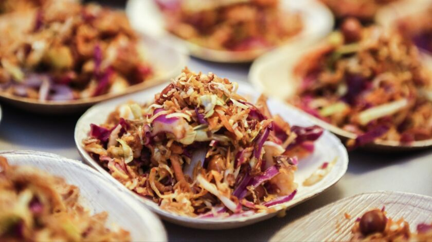 Kasih in Little Tokyo features Asinan kelapa, an Indonesian slaw that has gluten-free and vegan options.