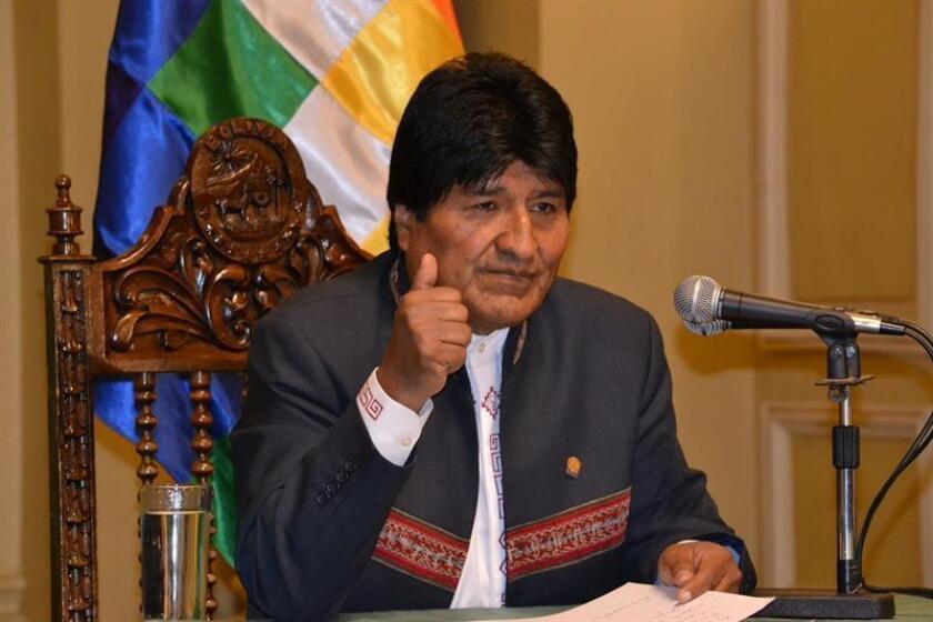 Fotografía cedida por la Agencia Boliviana de Información que muestra al presidente Evo Morales durante una rueda de prensa hoy, lunes 2 de julio de 2018, en La Paz (Bolivia). EFE/Cortesía Agencia Boliviana de Información