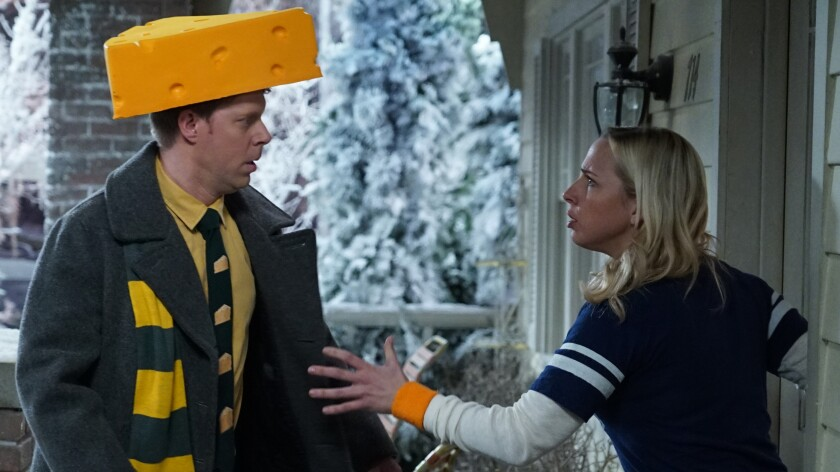 """Tim Baltz and Lecy Goranson in """"The Conners"""" on ABC."""