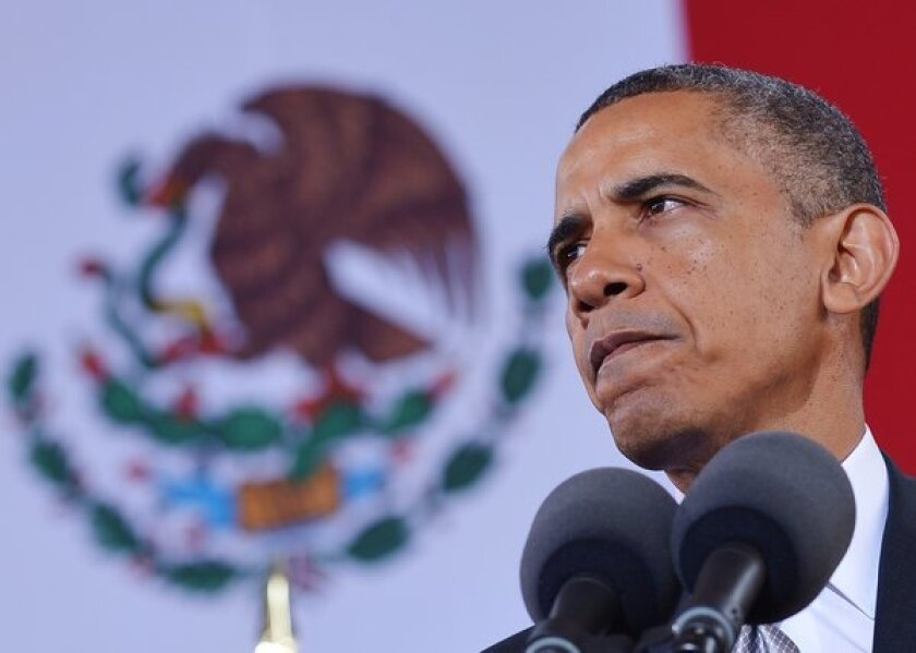 President Obama speaks at the National Museum of Anthropology in Mexico City.