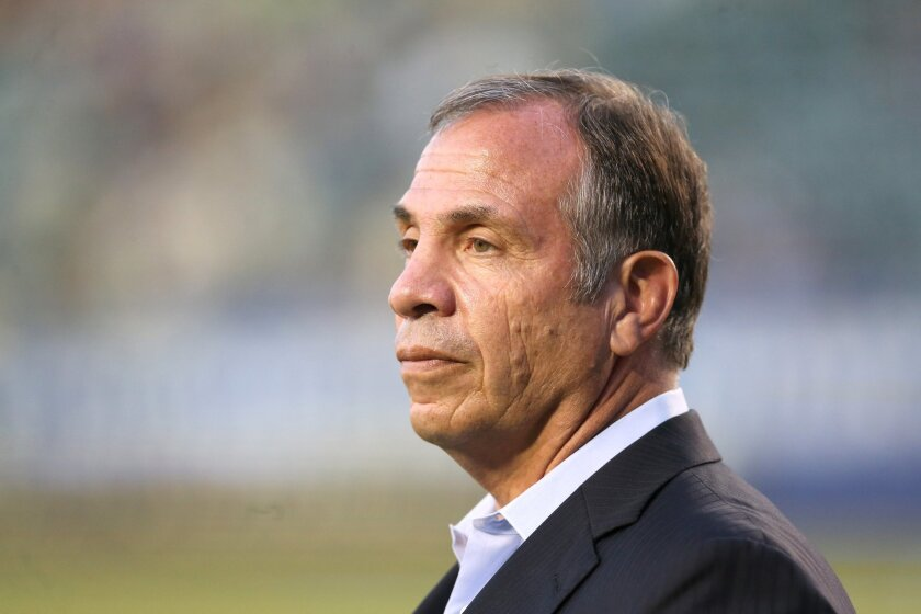 LOS ANGELES, CA - JULY 11: Head coach Bruce Arena of the Los Angeles Galaxy looks on during warmups for the match with Club America in the International Champions Cup 2015 at StubHub Center on July 11, 2015 in Los Angeles, California. The Galaxy won 2-1. (Photo by Stephen Dunn/Getty Images) ** OUTS - ELSENT, FPG - OUTS * NM, PH, VA if sourced by CT, LA or MoD **
