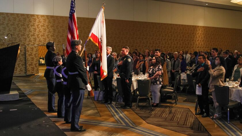 SAN DIEGO, CA April 10th 2018 | San Diego High School Junior ROTC presents colors during the Pledge